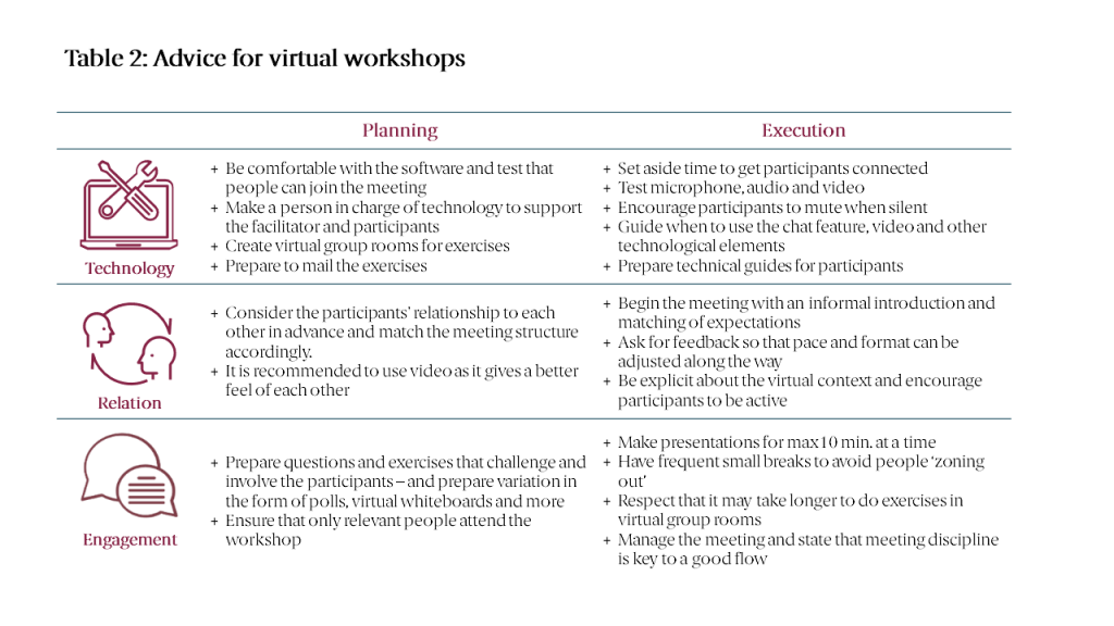 Table 2: Advice for virtual workshops